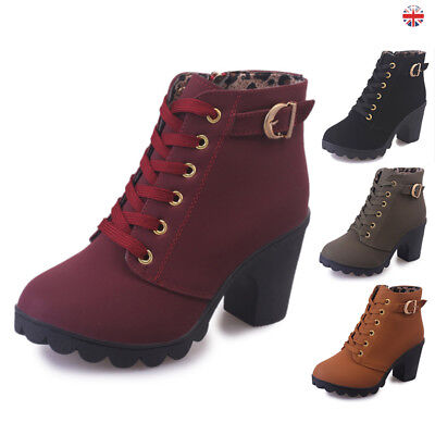 Women Lady Lace Up Ankle Boots Platform Punk High Heels Winter Casual Shoes UK