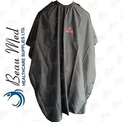 Beau-Med Hairdressing Barbers Cape Adult Salon Hair Cut Black Gown*IMPROVED*