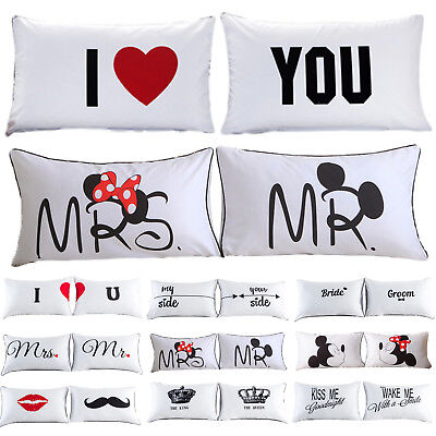 PERSONALISED Wedding Mr&Mrs Love CUSHION COVER 2PCS Pillow Case Anniversary GIFT
