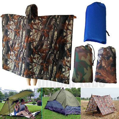 3 In 1 Multi-functional Outdoor Camping Camouflage Raincoat Tent Poncho Matress