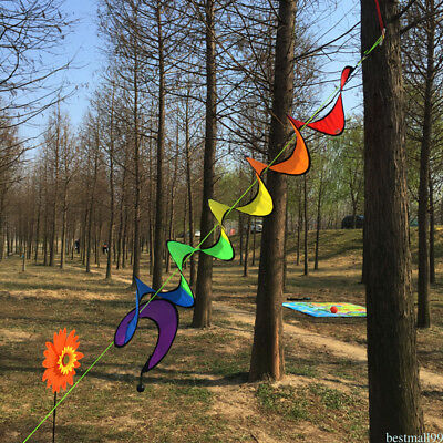 Colorful Spiral Wind Spinner Windmill Outdoor Camping Tent Home Decor ma99