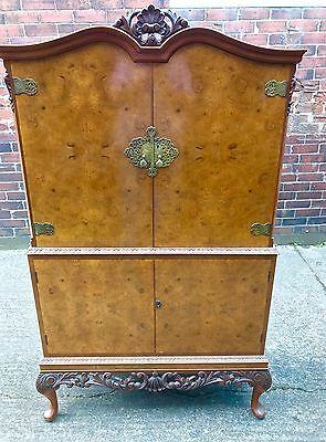 Large Vintage Burr Walnut Cocktail Drinks Cabinet Top Quality Delivery Available