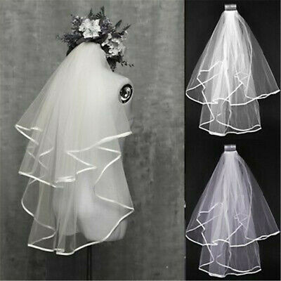 Tulle Wedding Veil 2T 1T 3M 2M Ivory White Short Long Bride Veil Applique Edge