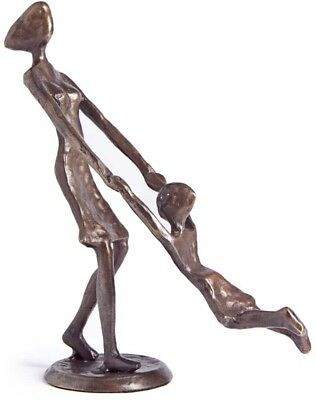 Bronze Mother Playing Swinging Child Statue Metal Handmade Sculpture Home Decor