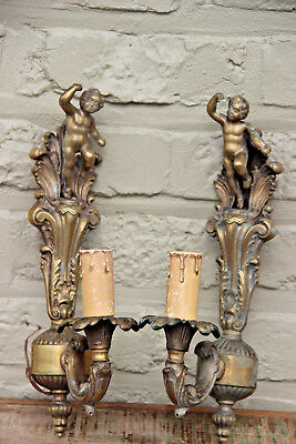 PAIR Brass Putti angels cherub Wall lights sconces 1950's france