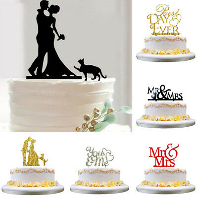 Acrylic Wedding Engagement Anniversary Party Cake Topper Pick Decoration