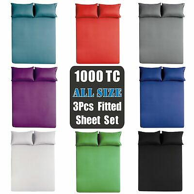 1000TC Ultra SOFT 3 Piece FITTED Sheet Set Single/Double/Queen/King Bed(No Flat)