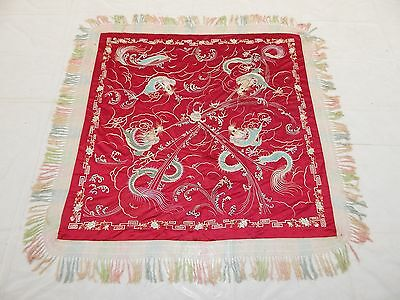 Antique Chinese Silk Dragons Hand Embroidery Piano Shawl (X349)