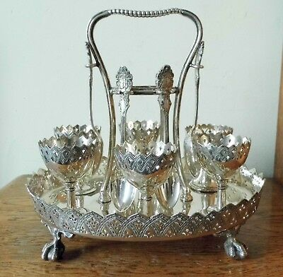 SUPERB VICTORIAN GOTHIC 1887 SHEFFIELD SILVER PLATED EGG CRUET for 6 P Ashberry
