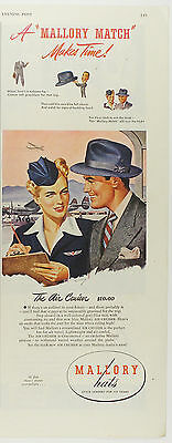 "Vintage 1946 MALLORY HATS Half-Page Large Magazine Print Ad ""The Air Crusier"""