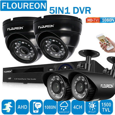 4CH AHD 1080N DVR CCTV Home Security Bullet Dome 1500TVL 720P Camera System Kit