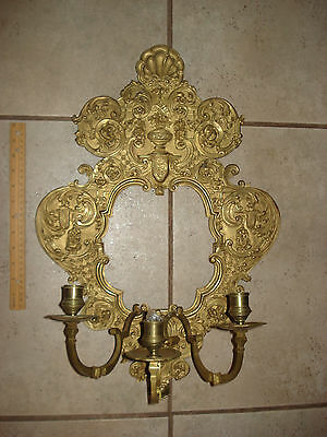 Antique FRENCH BRONZE/BRASS WALL SCONCE LARGE