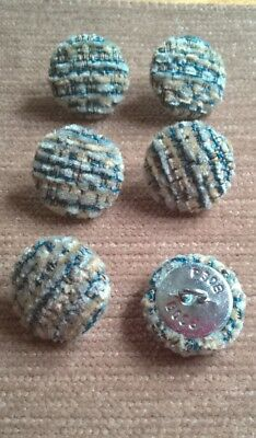 Textured Chenille 30l//19mm Silver Upholstery Fabric Covered Buttons Grey//Silver