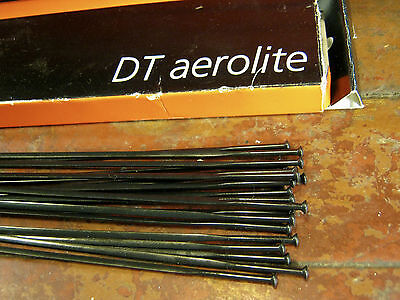 """DT SWISS AEROLITE Spokes Black """"Bladed"""" STRAIGHT-PULL *Any Qty**Any Length* NEW"""