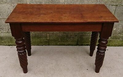 Antique Oak & Mahogany Hallway / Console Table with Turned Twist Legs & Drawer