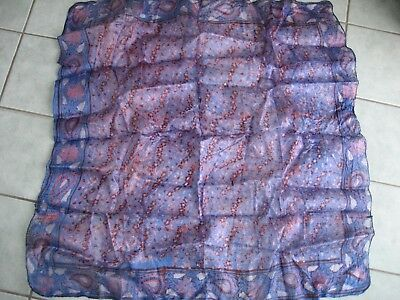 """Ethnic 100% Indian Silk-Grey blue/red floral/paisley pattern scarf-32""""sq -unused"""