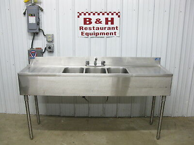 """6' Stainless Steel 3 Bowl Three Compartment Under Bar Sink w/ 2 Drain Boards 72"""""""