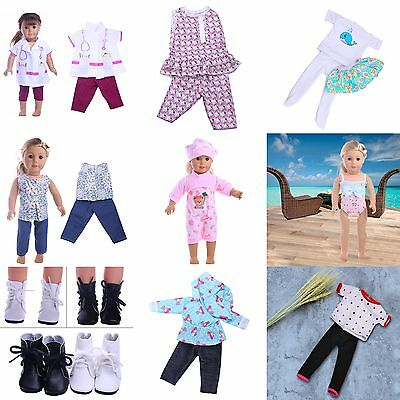 Fashion Doll T-shirt Pants Shoes Dress Accessories For 18 inch Doll Clothes UK