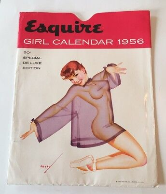 Vintage 1956 Esquire Girl Pin Up Calendar - All 12 Months MID CENTURY, GREAT!!