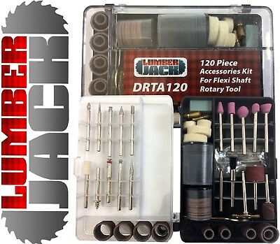 Lumberjack 120 Pc Rotary Tool Accessory Set in Case Universal fit for Dremel etc