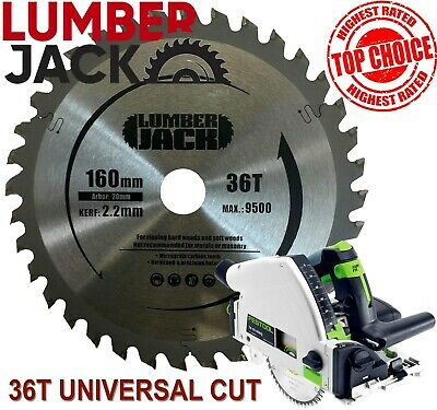 Lumberjack 36 Tooth TCT Wood Circular Saw Blade Festool Plunge TS55 160mm x 20mm