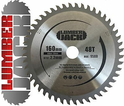 Lumberjack 48 Tooth TCT Wood Circular Saw Blade Festool Plunge TS55 160mm x 20mm