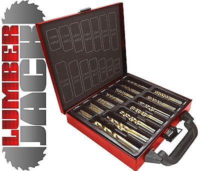 New Lumberjack 99 Piece Pc Titanium Wood HSS Steel Drill Bit Set with Metal Case