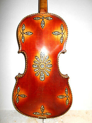 "Antique Old Vintage ""MOP Inlay"" 2 Pc. Back Full Size Violin"