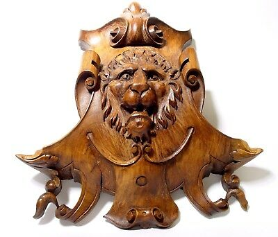 Victorian Large Hand Carved Lions Head | Lion Carving | Napoleon III | Mahogany.