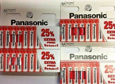 40 x AA Genuine Panasonic  Zinc Carbon Batteries - New R6 1.5V Expiry 02/2020