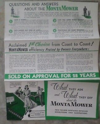Monta Mower Pamphlet - woman in dress mowing - order form and more 1952