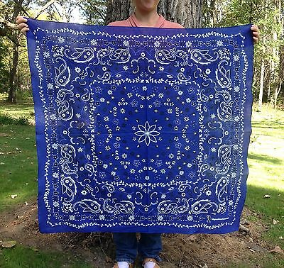 Giant Extra Large Oversize Bandana, 42x42 inches, Blue Paisley