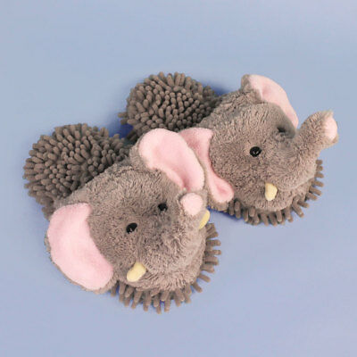 Elephant Slippers - Gray and Pink Aroma Home Fuzzy Friends Slippers