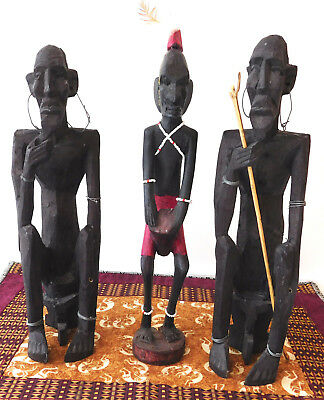 "(3) Hand Carved Kenyan Wood Statuette Figures 12"", African art"