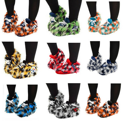 NFL Plush Fuzzy Sneaker Slippers Womens S-XL NWT Officially Licensed
