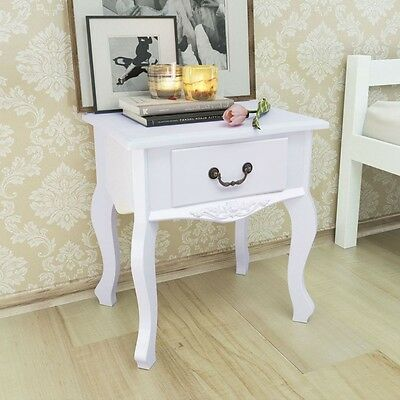 French Style Bedside Table White Nightstand Cabinet Storage Drawer Side Table