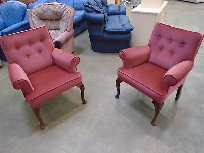 2 Vintage Fabric Armchairs with Cabriole Legs Fireside
