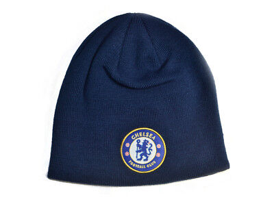 Chelsea FC Football Club Crest Logo Badge Navy Blue Knitted Beanie Hat Official