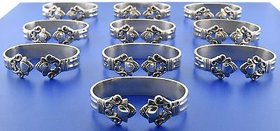 Investment Set of 10 Georg Jensen Acorn Sterling Silver Napkin Rings, 6 Pouches