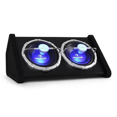 "HIFI CAR AUDIO DOUBLE SUBWOOFER 1600W 2x 10"" ENCLOSED DUAL BASS SPEAKER BOX SUB"