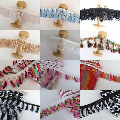 A great selection of colourful tassel and fringe trimmings sold by the metre