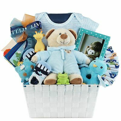 Baby Boy Gift Basket with Romper, Plush, Toys, Toy Block & Picture Frame