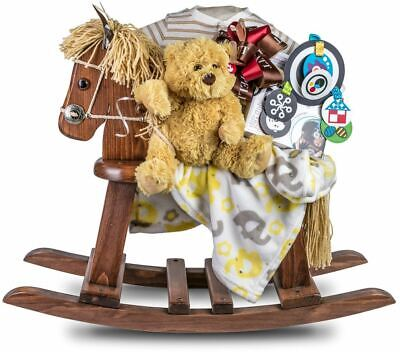 Baby Rocking Horse Gift with Fleece Blanket, Plush Ty and Toys