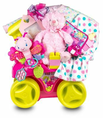Baby Girl Gift Mega Blocks Fun Wagon with Clothes, Toys and Baby Essentials
