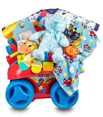 Baby Boy Gift Mega Blocks Fun Wagon with Clothes, Toys and Baby Essentials