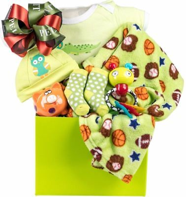 Baby Unisex Gift Basket with Hat, Sleeper, Blanket, Socks, Rattle, and More