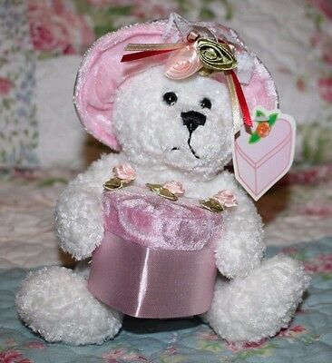 "7"" Jewelry Box Bear Pink Valentine Plush #4136 March of Dimes, Hat Heart Box"