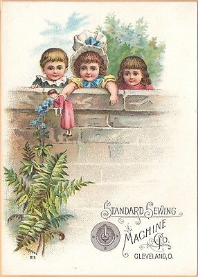 Victorian Trade Card-Standard Sewing Machine Co-Cleveland, OH-Kids w/ Doll