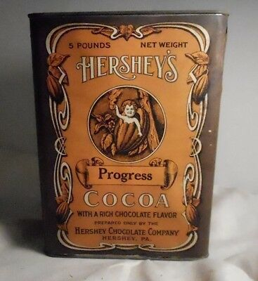 Very Rare 1910's Hersheys Five Pound Cocoa Can