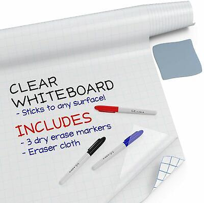 Large Dry Erase Board Wall Sticker (Clear, 6.5 Feet) + 3 Whiteboard Markers